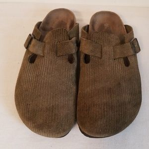 Birkenstock Ribbed Green Suede Womens Clogs